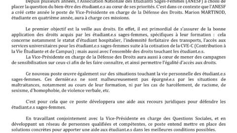 CDP – Présentation du poste Vice-Présidente en charge de la Défense des Droits
