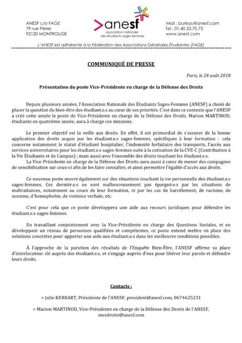 Communiqué De Presse – Présentation du poste Vice-Présidente en charge de la Défense des Droits