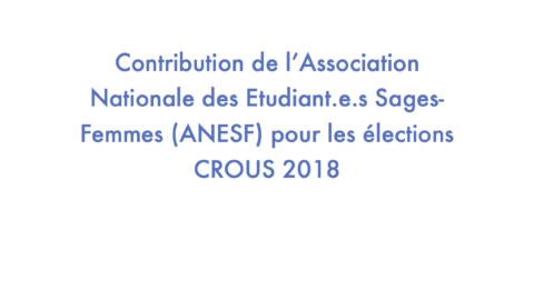 Contribution de l'ANESF pour les élections CROUS – EDITION 2018