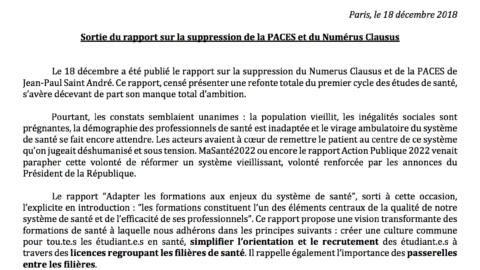 Communiqué De Presse – Sortie du rapport sur la suppression de la PACES et du Numérus Clausus