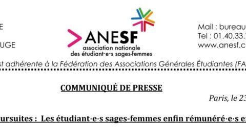 Communiqué de Presse – Abandon des poursuites :  les étudiant·e·s sages-femmes enfin rémunéré·e·s en totalité !