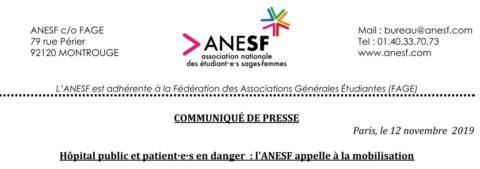 Communiqué de Presse – Hôpital public et patient·e·s en danger : l'ANESF appelle à la mobilisation