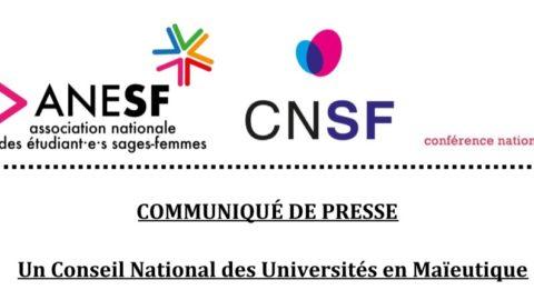 Communiqué de Presse – Un Conseil National des Universités de Maïeutique
